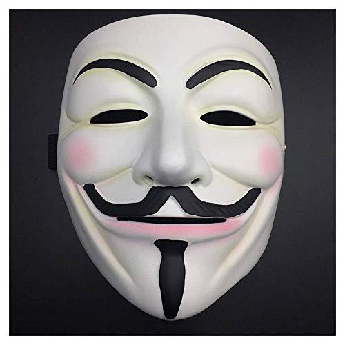 YaPin Halloween V Wort Geek Vendetta Maske Harz Film Und Fernsehen Horror Dance Männlichen Cos Guy Fawkes Dekoration (Color : White)