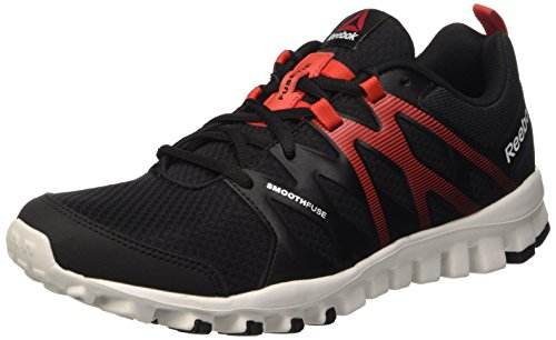 Reebok Realflex Train 4.0, Scarpe Sportive Indoor Uomo, Nero (Black/Motor Red/Skull Grey), 42.5 EU