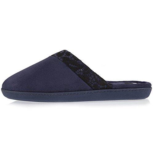 Pantofole Da Donna Con Dettaglio Di Pizzo Isotonico Marino