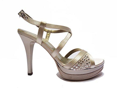 Nero Giardini sandali da donna in raso/camoscio col. Sabbia tacco cm. 11 plateau cm. 3, num. 38