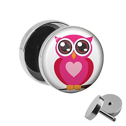 Treuheld | Ohrstecker zum Schrauben - Eule mit Herz - Pink Weiß - Fake-Plug mit Gewinde - Edelstahl Fake-Tunnel Ohr-Ring - Niedliche süße Eule - Ohr-Piercing