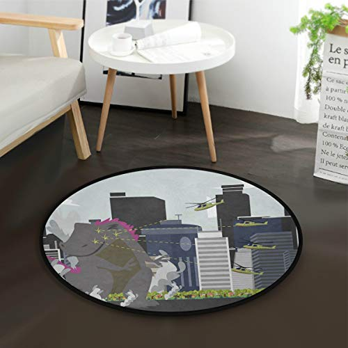 Aminka Godzilla Dinosaurier-Teppich, rund, Krabbeln, rutschfeste Matten für Kinder, für Schlafzimmer, Spielzimmer, Heimdekoration (Durchmesser 91,4 cm)