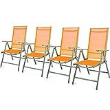 Nexos 4er Set Klappstuhl Gartenstuhl Campingstuhl Liegestuhl – Sitzmöbel Garten Terrasse Balkon – klappbarer Stuhl aus Aluminium & Kunststoff - orange