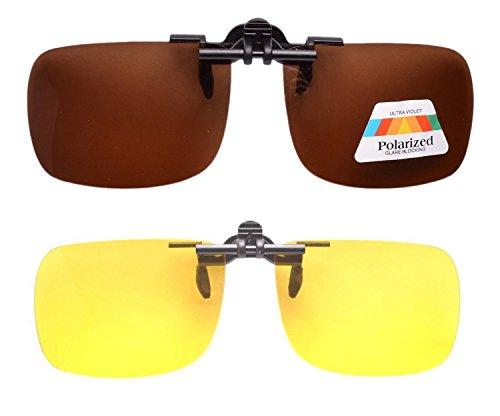 Eyekepper Sur-lunettes de conduite de nuit a clipser Polarisees Monoverre, - braun Neu,