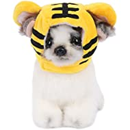 Conysan Pet hat with cartoon design,Pet Headwear for dog cat to cosplay,Duck,Sunflower,Rabbit,Tiger,Wapiti (Tiger, S)