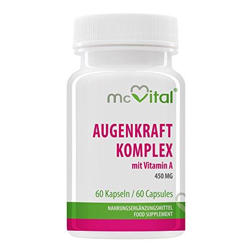 AugenKraft Komplex - 450 mg - Sehkraft Komplex plus Schutz - Hochdosiert - Lutein, Beta Carotin, Antioxidantien - 60 Kapseln