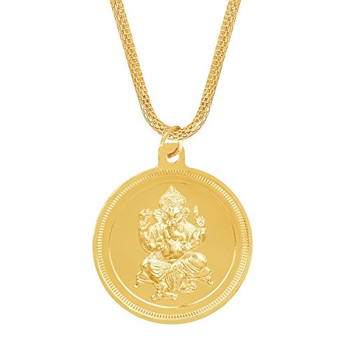 Shining Jewel 24K Gold Plated Ganesha Coin Pendant and Necklace (SJ_2276)  available at amazon for Rs.214