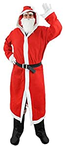 I Love Fancy Dress ILFD021 Adults Santa Claus Fancy Dress Costume with Red Hooded Cloak/White Beard And Black Belt (One size, 3-Piece)