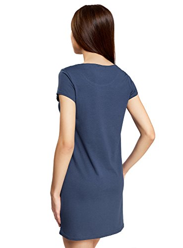 oodji Ultra Damen Baumwoll-Hauskleid mit Druck Blau (7952P)