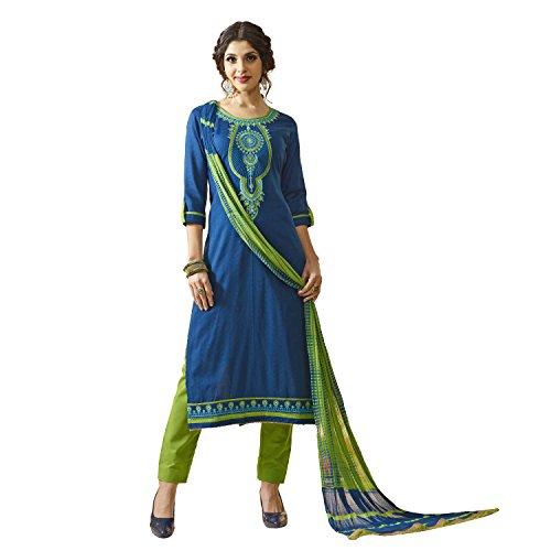 Kvsfab Blue & Green Colour Cotton Un Stitched Dress Material(KVSSK10082AND_3)