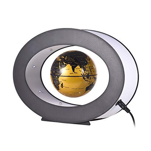 Oval Basis Lampe (Aibecy Magnetische Levitation Globe 3 Zoll Magnetschwebebahn mit LED Weißes Licht Oval Form Basis für Home Office Schreibtisch Dekoration Kinder Pädagogisches Geschenk)