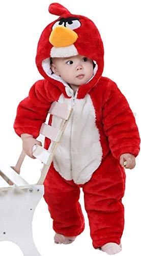 Deluxe Kinder Jungen Mädchen Baby Kleinkind rot Angry Birds Super Plüsch Velour Einteiler mit Kapuze Schneeanzug Verkleidung Kostüm Kleidung 9 Monate - 5 Jahre - Rot, 9-12 months (80cms)