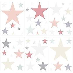 Wandtattoo Kinderzimmer Wandsticker Set Pastell Sterne in zarten Farbtönen Stüc