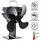 Lacyie Ventilador de Chimenea, Ventilador de 4 Aspas para Estufa Quemador de Madera/Registro/Chimenea - Protección del Medio Ambiente