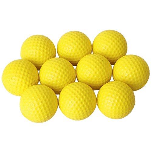 NUOLUX 10pcs pratique intérieur jaune PU Golf balles balles de Golf d'entraînement