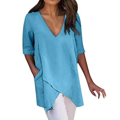ig T-Shirt Baumwoll Leinen Tunika Freizeit Unregelmäßige V-Ausschnitt Kurzarm Top Bluse Oberteil mit Taschen(Blau,EU-42/CN-3XL) ()