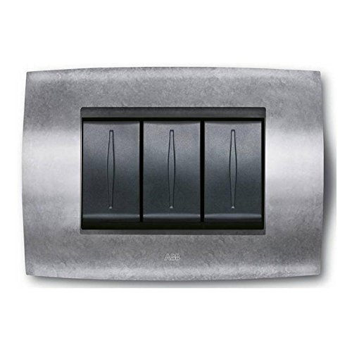 Placa Soft Metal 3módulos zamak Natural 2cse0352sfz
