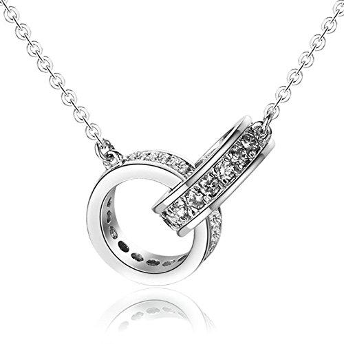Onefeart Versilbert Anhänger Damen Halskette Rings Entwurf Zirkonia Rolo Kette 1.1x1.1x45CM Silber