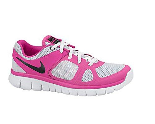Nike Flex 2014 Rn (Gs), Chaussures de Running Entrainement Fille Multicolore - Plateado / Negro / Rosa / Blanco (Pure Platinum / Blk-Ht Pnk-White)