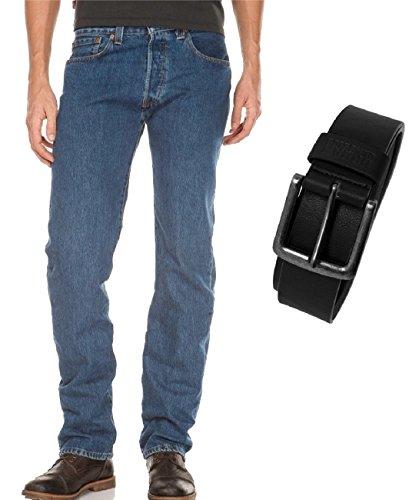 Levi's® 501® Jeans - Regular Straight Fit - Stonewash - Onewash - Marlon Wash - Black - Light Broken In mit Urban Classics Gürtel onewash (00501-0101)