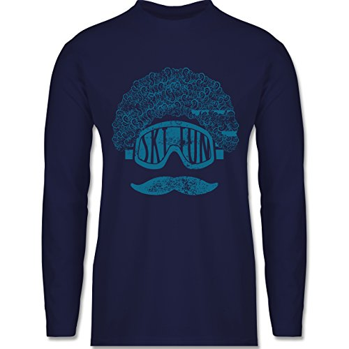 Après Ski - Ski Fun Moustache - Longsleeve / langärmeliges T-Shirt für Herren Navy Blau