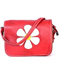 Latest White Flower Printed Red Sling Bag For Women & Girls By Bagris GE01001277