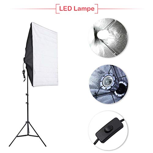 Dauerlicht-kit (Softbox Lighting Kit Nisso Dauerlicht Faltbare Softbox Fotostudio Set Led 28w Studioleuchte)