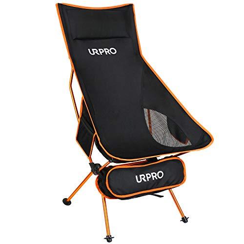 URPRO Upgraded Outdoor Camping Chair Tragbare leichte Klappstühle mit Kopfstütze und beidseitiger Tasche mit hoher Rückenlehne für Outdoor-Rucksacktouren Wandern Reisen Picknick Angeln