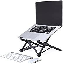 Kobwa Soporte de Portátil Portátil con Bolsa de Transporte, Plegable y Ajustable Cuaderno Poseedor Altura de los Ojos Ergonómico Ligero Ajuste Universal Compacto para Ordenador PC Macbook