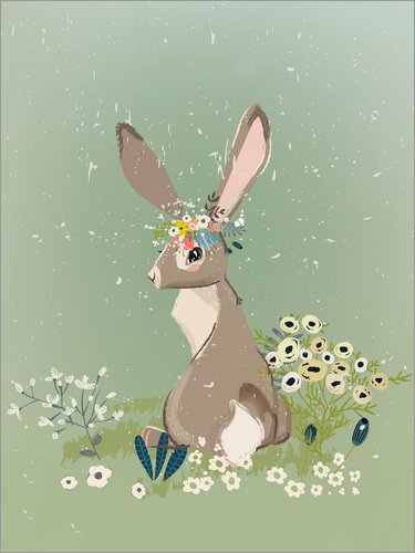 Posterlounge Holzbild 90 x 120 cm: Hase mit Wildblumen von Kidz Collection/Editors Choice