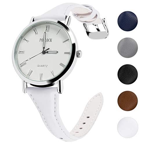 Fullmosa 5 Farben Uhrenarmband, Schmal Lederarmband mit Edelstahl Schnallen für Herren Damen 18mm (Metall-uhrenarmbänder Frauen Für)