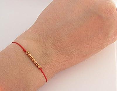 Bracelet rouge 7 perles plaqué or rose/gold filled ou argent