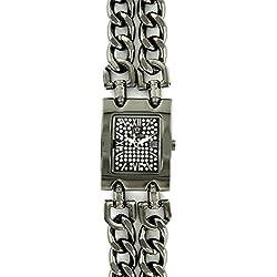 Damen Panzerkette Armbanduhr Stahl schwarz Diamanten CZ Michael John 126