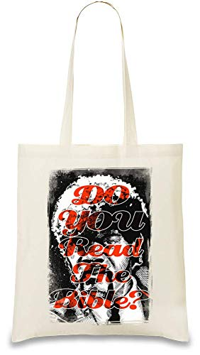 Liest du Bibel Pulp Fiction? - Do You Read Bible Pulp Fiction Custom Printed Tote Bag| 100% Soft Cotton| Natural Color & Eco-Friendly| Unique, Re-Usable & Stylish Handbag For Every Day Use| Custom