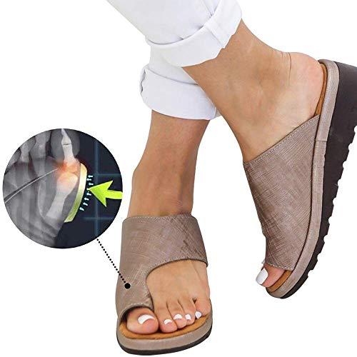 Wahpy Neu Damen Sommer Orthesen Hauschuhe Peep-Toe Schuhe Keilabsatz PU Leder Sandalen Bequem Flach Strandschuhe,Copper,39