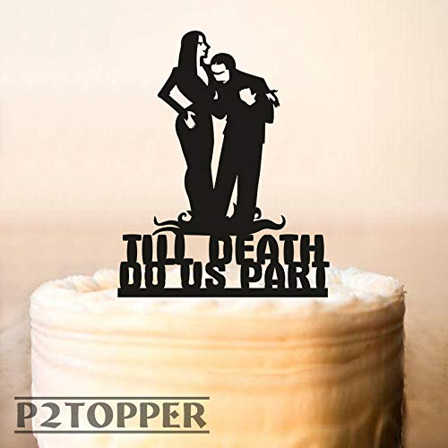 Tortenaufsatz für Hochzeitstorte, Halloween, Hochzeitstorte, Adams Family, Morticia und Gomez Topper, Till Death Do Us Part, Halloween, 0243 (Morticia Gomez E Halloween)