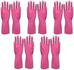 shakuntla 5 Pair Wet and Dry Latex Household Hand Gloves (Yellow, Gloves5P)