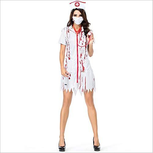 CYYMY Damen Blut Krankenschwester Uniform Kostüm Einstellen Anzieh Bühnenanzug Partykleidung Dessous Halloween Cosplay - Feuer Für Erwachsene Damen Kostüm