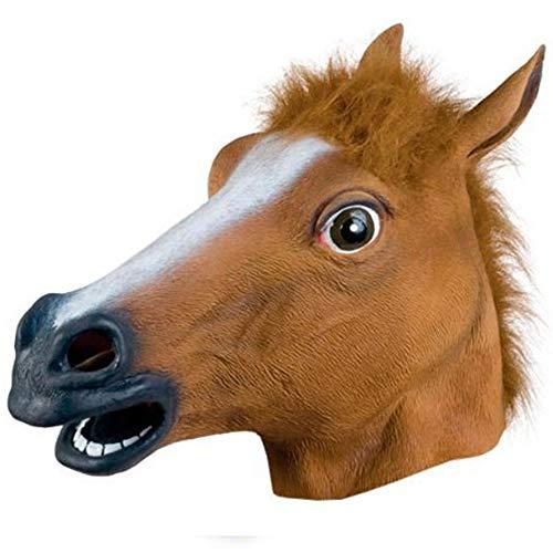 Brown Horse Masken Creepy Pferdekopf-Maske Rubber Latex Tier Neuheit Halloween-Maske Kostüme - Pferde Nase Maske Kostüm