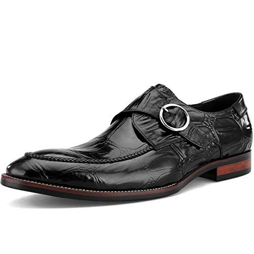 Schnalle-mokassin (XWQYY Herren Business Schuhe Leder Geprägtes Krokoprägung Spitz Schnalle Erste Schicht Leder Hochzeitsschuhe,Black-42EU)