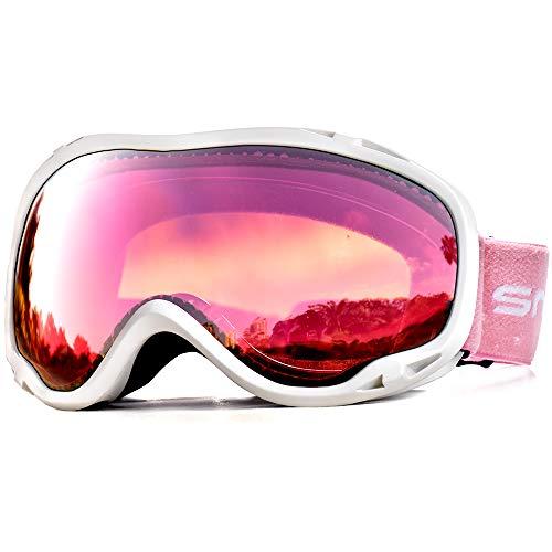 Snowledge Skibrille Snowboard Brille Doppel-Objektiv OTG UV400 Schutz mit Anti-Beschlag, Skibrille Damen & Herren, Winddicht Ski-Schutzbrillen für Motorrad Fahrrad Skifahren Skaten, Helmkompatible