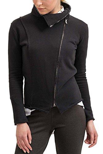 trueprodigy Casual Damen Marken Sweatjacke einfarbig Basic, Oberteil cool und stylisch mit Kapuze (Langarm & Slim Fit), Sweat Jacke für Frauen in Farbe: Schwarz 2573508-2999 Black