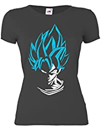 GIOVANI & RICCHI Damen Super Son Goku Blaue Haare Fitness Shirt T-Shirt Saiyajin in verschiedenen Farben