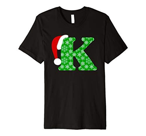 Weihnachten Santa Monogramm Buchstabe K Urlaub Geschenk T-Shirt