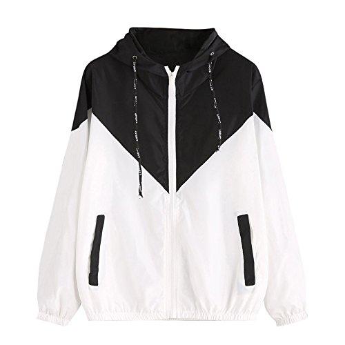 Damen Hoodies,KIMODO 2019 Frauen Langarm Patchwork Dünne Skin Suits Mit Kapuze Reißverschluss Taschen Sport Mantel (Schwarz, M)