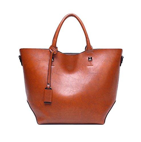 Dame PU Klassische Wannenbeutel-Schulterbeutel-Ölwachs-Lederhandtasche Brown