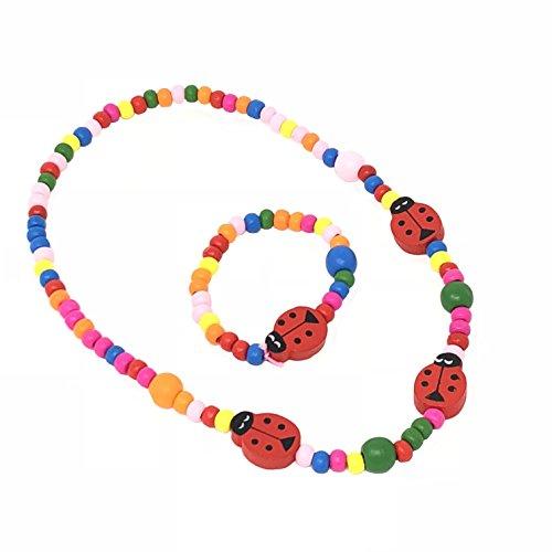 KINDER Marienkäfer Perlen Halskette und Armband Set - PARTY Wundertüten Inhalt, strumpf füllstoffe, geschenke für klein mädchen (Party-perlen-halsketten)
