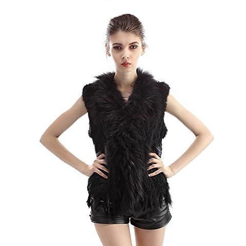 Vemolla Echter Gestrickter Pelzponcho aus Kaninchen für Damen im Winter mit Waschbär Pelz Schnitt Size M Schwarz