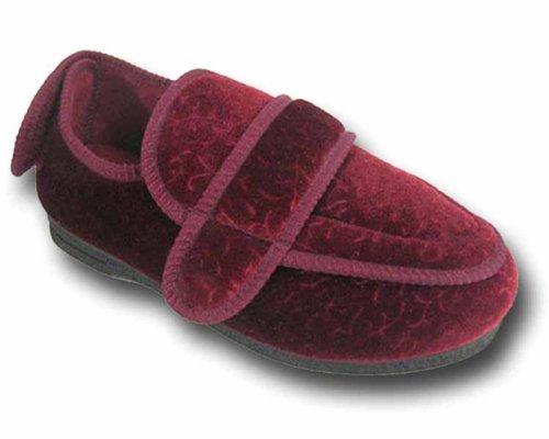 "Coolers - Nuove pantofole da donna ""inghiotti piede"" Orthopaedic 200, comode e confortevoli, calzata facile con fascia in velcro. Viola (Burgundy)"