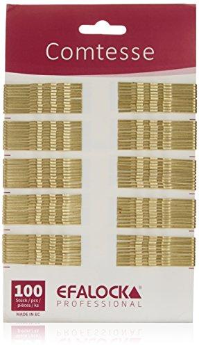 Efalock Professional Comtesse Haarklemmen gewellt, gold, 5 cm, 1er Pack, (1 x 100 Stück)
